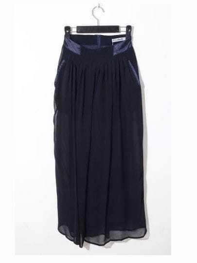 Navy Casual Loose High Waist Chiffon Pants