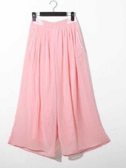 Pink Casual Loose High Waist Chiffon Pants