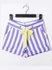 Purple Casual Broken Stripe Denim Shorts