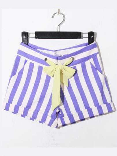 Purple Casual Broken Stripe Denim Shorts
