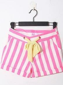 Rose Red Casual Broken Stripe Denim Shorts