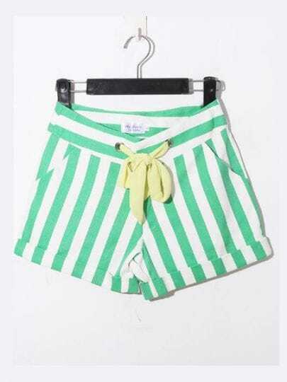 Green Casual Broken Stripe Denim Shorts