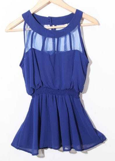 Blue Sleeveless Patched Organza Panel Chiffon Peplum Blouse