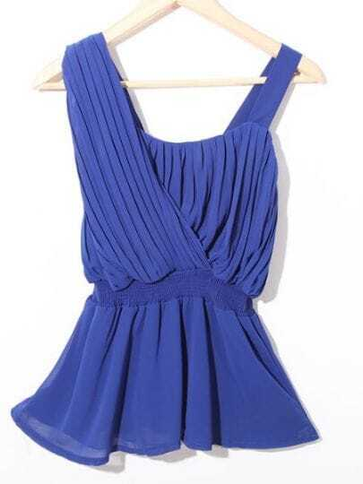 Blue One Shoulder Pleated Chiffon Peplum Blouse