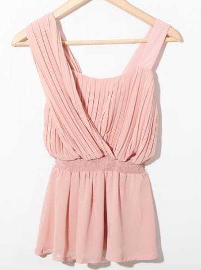 Pink One Shoulder Pleated Chiffon Peplum Blouse