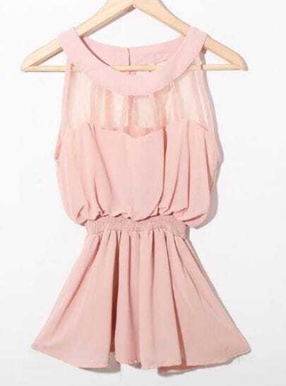 Pink Sleeveless Patched Organza Panel Chiffon Peplum Blouse