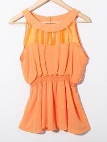 Orange Sleeveless Patched Organza Panel Chiffon Peplum Blouse