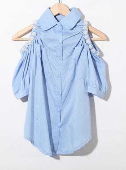 Blue Pearls Beaded Cut Out Shoulder Curved Hem Pockets Shirt
