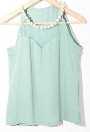 Green Pearls Halter Top Contrast Tulle Chiffon Blouse