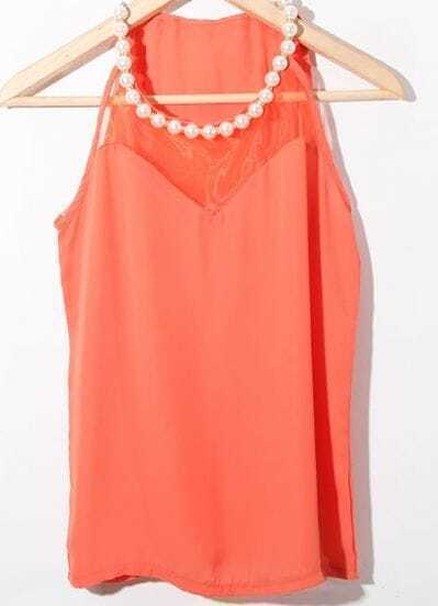 Orange Pearls Halter Top Contrast Tulle Chiffon Blouse