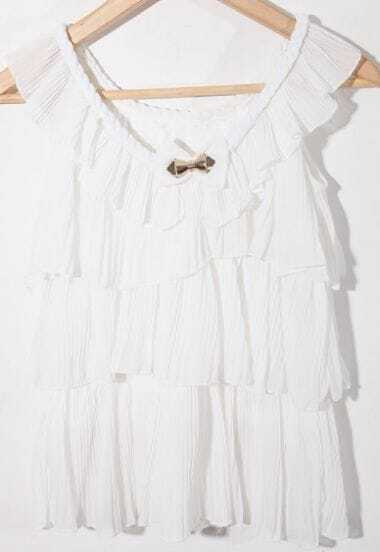 White Round Neck Sleeveless Bow Pleated Ruffles Chiffon Shirt