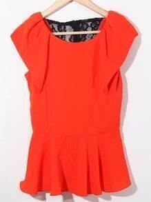 Red Ruffle Sleeve Lace Zip Back Chiffon Peplum Blouse