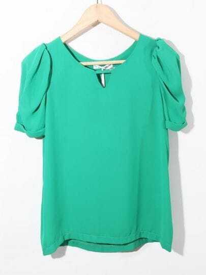 Green Cut Out Round Neck Puff Sleeve Chiffon Blouse