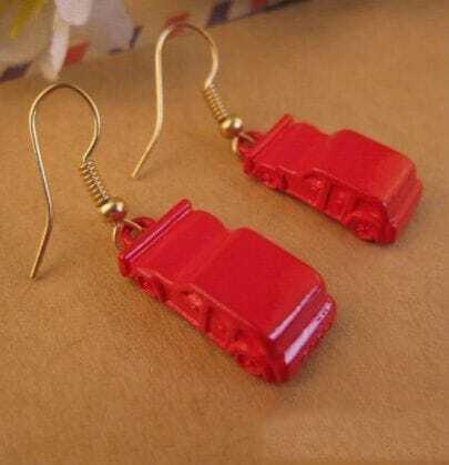 Fashion Red Car Dangle Earrings
