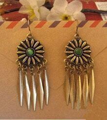 Vintage Awl Purl Opal Spike Dangle Earrings