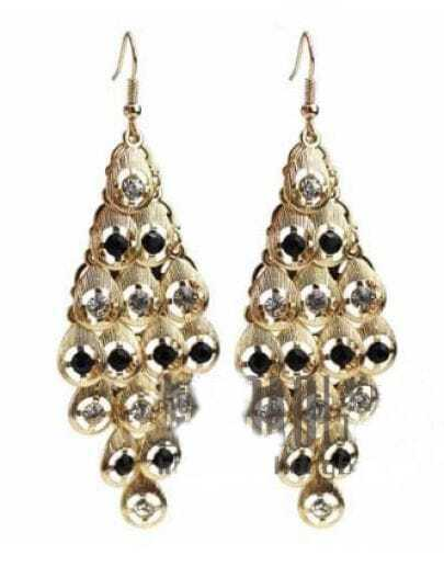 Black Rhombus Crystal Drop Earring