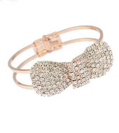 Gold Pave Crystal Bowknot Bracelet