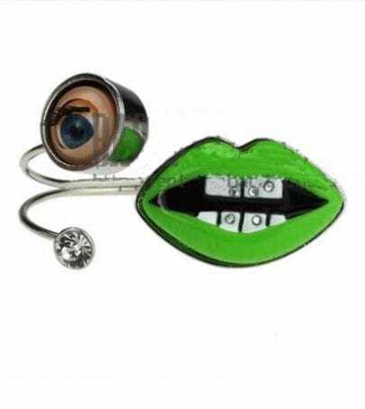Eyes And Green Lips Silver Bracelet