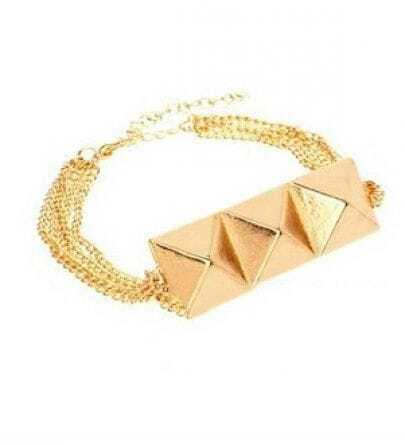 Small Paragraph Gold Three Squares Bracelet