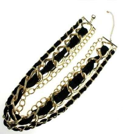Gold And Black Three-tier Collar Necklace