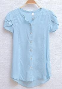 Yellow Petal Cap Sleeve Curved Hem Shirt