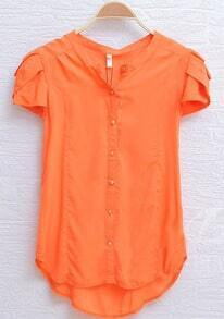Orange Petal Cap Sleeve Curved Hem Shirt