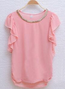 Pink Metal Chain Round Neck Ruffle Sleeve Chiffon Blouse