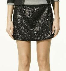 Black Sequined Sheath Mini Skirt