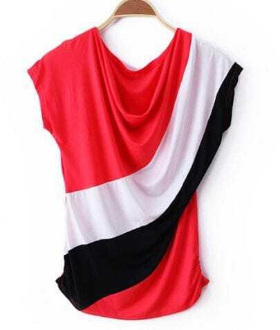 Red Color Block Drape Neck Short Sleeve T-shirt