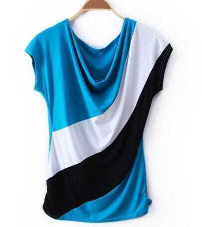 Blue Color Block Drape Neck Loose Short Sleeve T-shirt