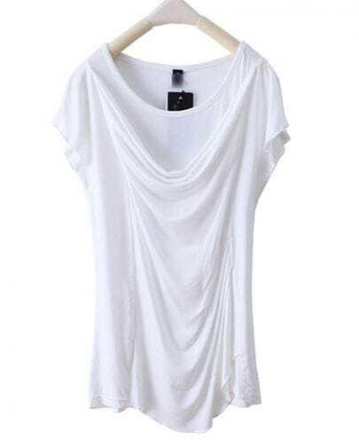 White Front Draped Round Neck Short Sleeve T-shirt