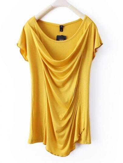Yellow Front Draped Round Neck Sleeve T-shirt
