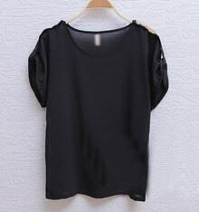 Black Sequin Shoulder Turn Back Short Sleeve Chiffon Blouse