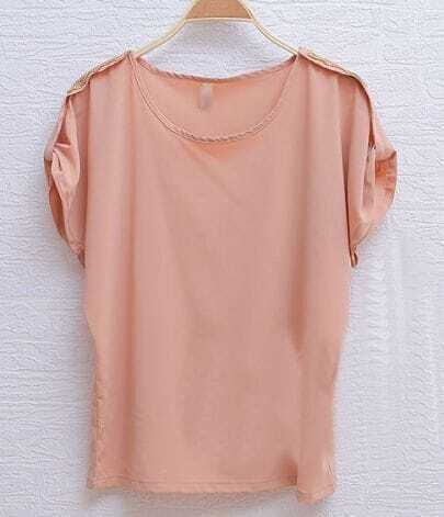 Pink Sequin Shoulder Turn Back Short Sleeve Chiffon Blouse