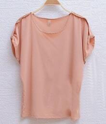 Pink Sequin Shoulder Turn Back Short Sleeve Chiffon Blouse