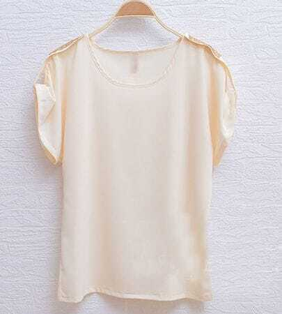 Beige Sequin Shoulder Turn Back Short Sleeve Chiffon Blouse