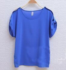 Royal Blue Sequin Shoulder Turn Back Short Sleeve Chiffon Blouse