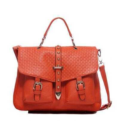 Coffee PU Studded Messenger Handbag