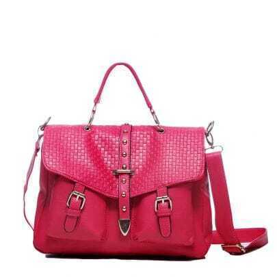 Red PU Studded Messenger Handbag