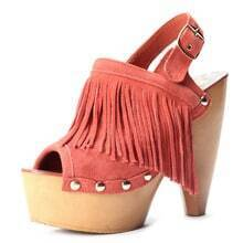 Orange Leather Tassel 140mm Slingbacks