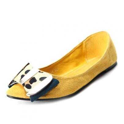 Yellow Leather Leopard Calf Hair Bow Flat Shoes