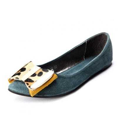 Blue Leather Leopard Calf Hair Bow Flat Shoes
