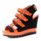 Orange Satin Buckle Strap 110mm Sandals