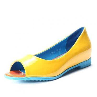 Yellow Patent Leather Double Platform Pumps