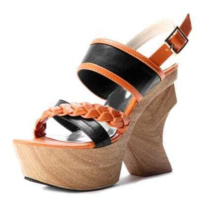 Orange PU Espadrille 130mm Sandals
