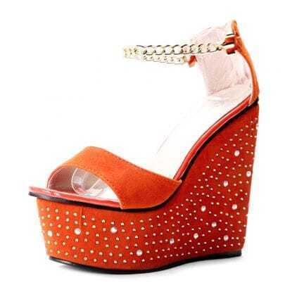 Orange Suede Chain Rhinestone 140mm Wedges