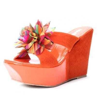 Orange Suede Patent Leather Chiffon Flower 120mm Wedges