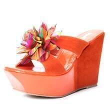 Orange Suede Patent Leather Chiffon Flower 120mm Wedges