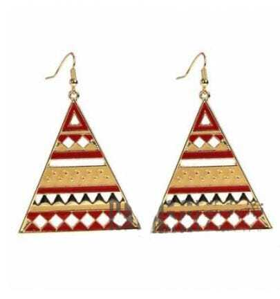 Red And Yellow Stripe Triangle Dangle Earrings
