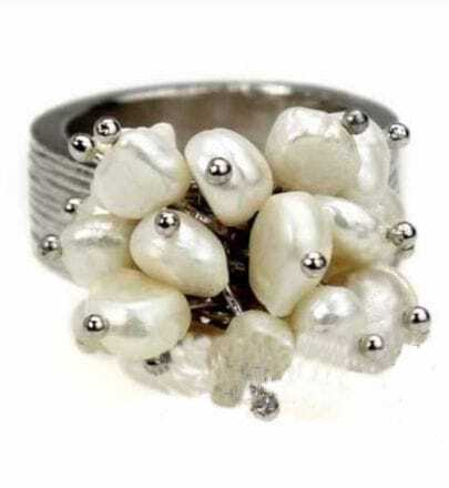 Pearl Flower Silver Ring